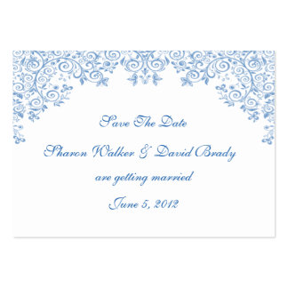 Enchantment White And Blue Save The Date Business Card Templates