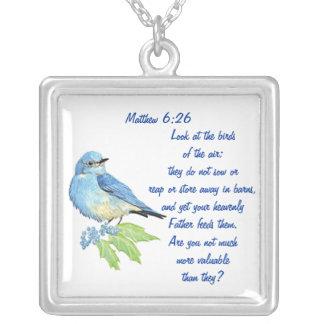 Encoucouraging Scripture Matthew 6:26, Bird Art Square Pendant Necklace