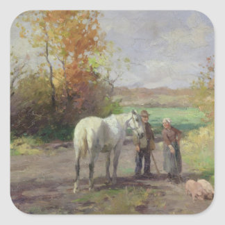 Encounter on the Way to the Field, 1897 Square Sticker