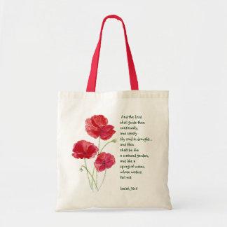 Encourage Scripture Isaiah Poppy Garden Flower Canvas Bags