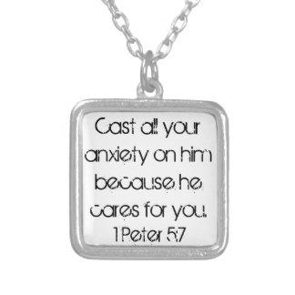 encouragement bible verse 1 Peter 5:7 Square Pendant Necklace