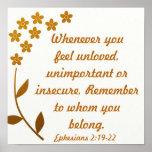 Encouragement bible verse Ephesians 2:19-22 Poster