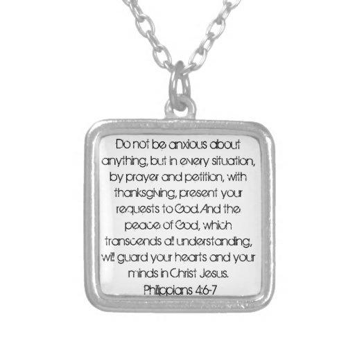 Encouragement bible verse Philippians 4:6 necklace