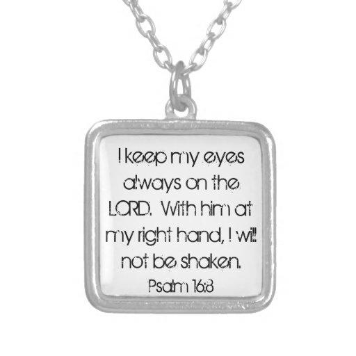 encouragement bible verse Psalm 16:8 necklace