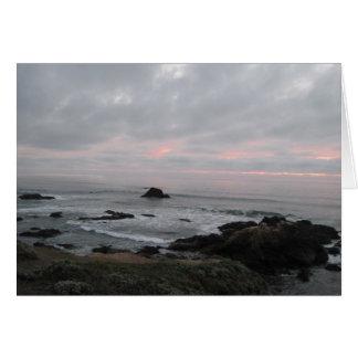 Encouragement Card: Rocky Coastline at Sunset Greeting Card