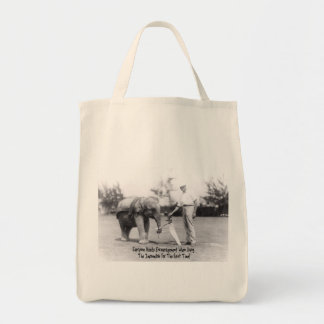 Encouragement - Elephant Playing Golf Canvas Bags