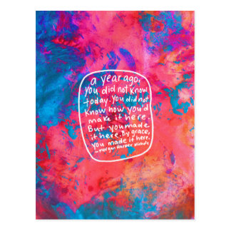 Encouragement postcard quote abstract art pink