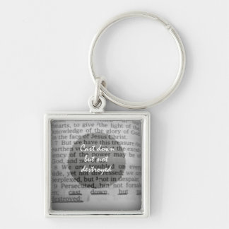 Encouraging Bible Verse Silver-Colored Square Key Ring