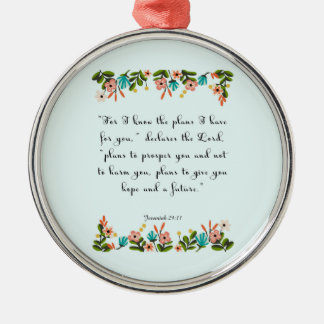 Encouraging Bible Verses Art - Jeremiah 29:11 Silver-Colored Round Decoration