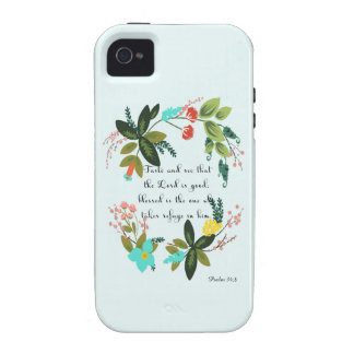 Encouraging Bible Verses Art - Psalm 34:8 Case-Mate iPhone 4 Cases