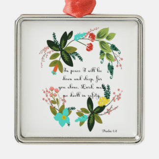 Encouraging Bible Verses Art - Psalm 4:8 Christmas Ornament