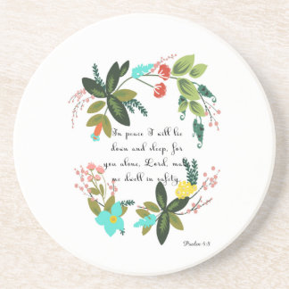Encouraging Bible Verses Art - Psalm 4:8 Coasters