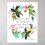 Encouraging Bible Verses Art - Psalm 4:8 Poster