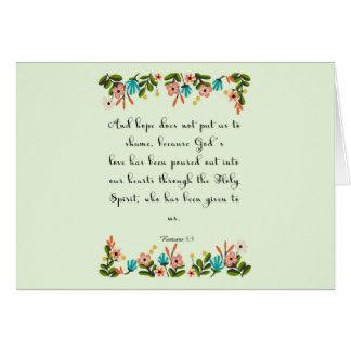 Encouraging Bible Verses Art - Romans 5:5 Greeting Card
