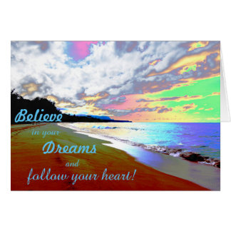 "Encouraging Card ""Believe in Your Dreams"" Beach"