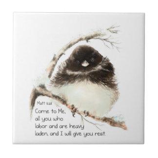 Encouraging, Scripture Matthew 8:28 Cute  Birds Small Square Tile