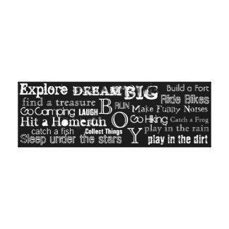Encouraging Words Boys Bedroom Canvas Wall Art Stretched Canvas Print