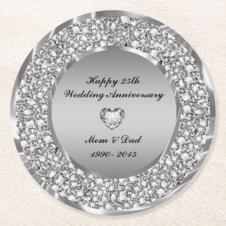 Encrusted White Diamonds 25th Anniversary Round Paper Coaster