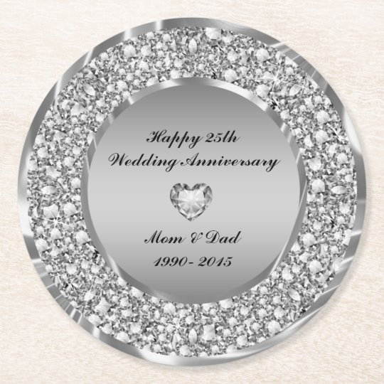 Encrusted White Diamonds 25th Anniversary Round Paper Coaster