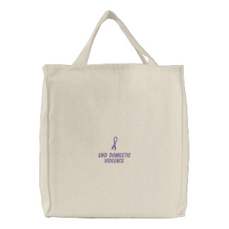 End Domestic Violence Embroidered Tote Bag