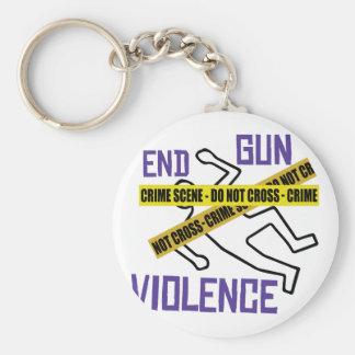 End Gun Violence Basic Round Button Key Ring