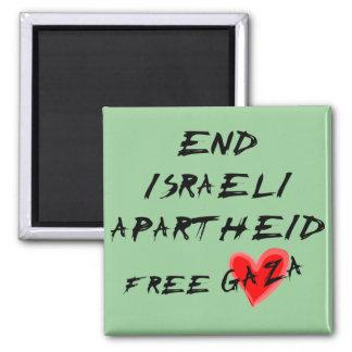 End Israeli Apartheid Free Gaza Square Magnet