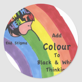 End Mental Health Stigma Round Stickers