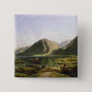 End of Lake Geneva, 1835 (oil on canvas) 15 Cm Square Badge