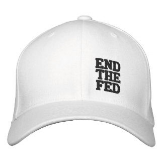 END THE FED (black text) Embroidered Baseball Caps