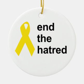 end the hatred Double-Sided ceramic round christmas ornament