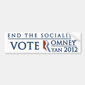 End the Socialism | Vote Romney Ryan 2012 Bumper Sticker
