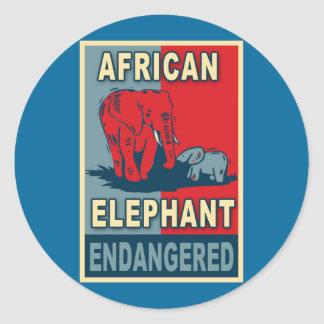 Endangered African Elephant Pop Art Tshirts Round Sticker