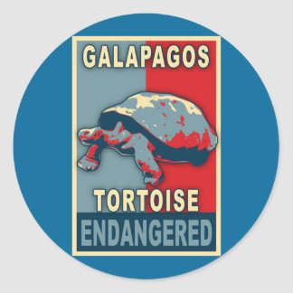 Endangered Galapagos Tortoise Pop Art Tshirts Round Sticker