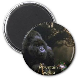 Endangered Mountain Gorilla & Tree Frog Art 6 Cm Round Magnet