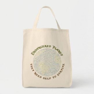 Endangered Planet Typography Grocery Tote Bag