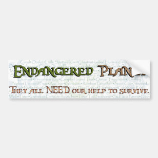 Endangered Planet Typography(Swirl) Bumper Stickers