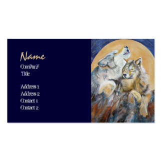 Endangered Wolf Baying at the Moon Business Cards