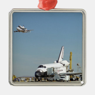 Endeavour on Runway with Columbia on SCA Overhea Christmas Ornament