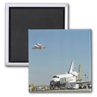 Endeavour on Runway with Columbia on SCA Overhea Magnet