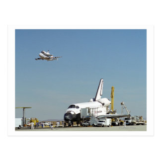 Endeavour on Runway with Columbia on SCA Overhea Postcard