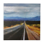 Endless Road - New Mexico. Small Square Tile