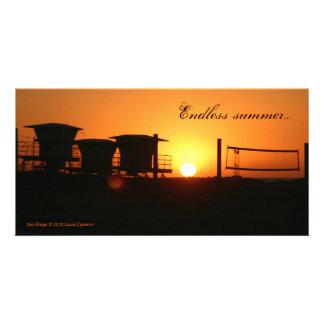 Endless summer beach sunset photo card