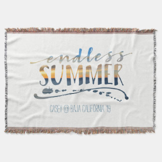 Endless Summer Beach Vacation Sunset Typography Throw Blanket