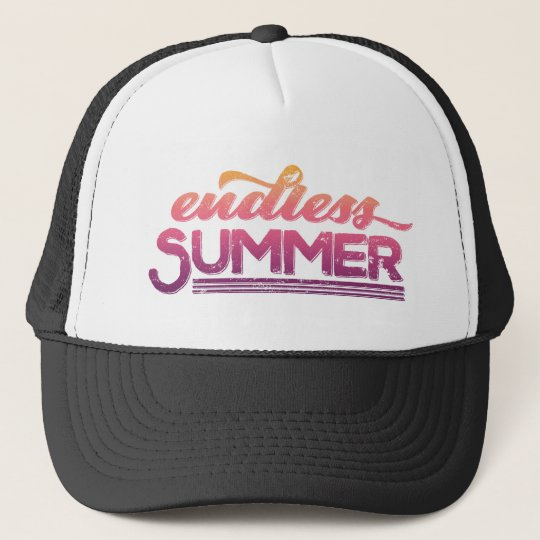 Endless Summer Pink Sunset Vintage Typography Trucker Hat