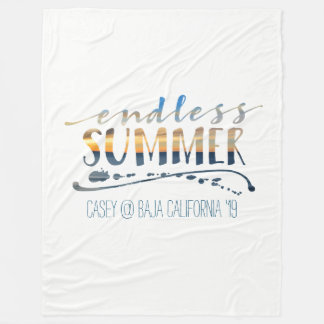 Endless Summer Tropical Vacation Sunset Typography Fleece Blanket