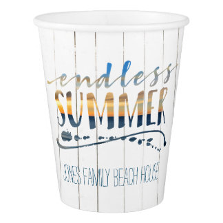 Endless Summer Tropical Vacation Sunset Typography Paper Cup