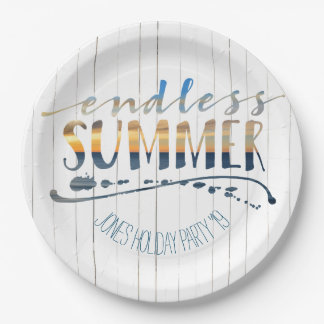 Endless Summer Tropical Vacation Sunset Typography Paper Plate
