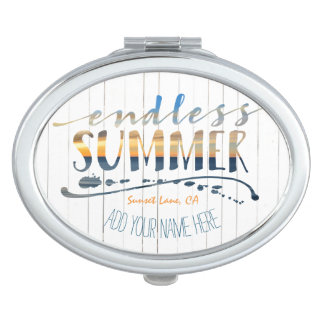 Endless Summer Tropical Vacation Sunset Typography Travel Mirrors