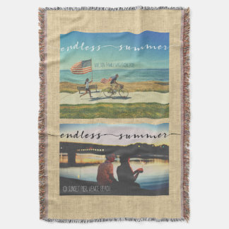 Endless Summer Typography Family Vacation Photos Throw Blanket