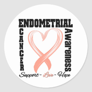 Endometrial Cancer Awareness Brushed Heart Ribbon Round Sticker